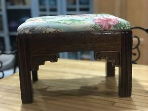 Vintage Foot Stool Footrest Art Deco Modern With Polynesian Asian Upholstery