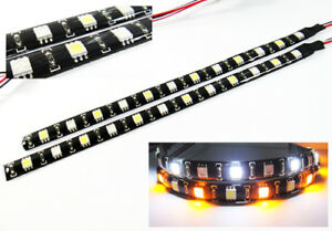 Pair Switchback 12 Led Light Strip Amber White Parking Drl Fog Light For Toyota