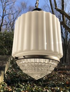 Large Vintage Art Deco Skyscraper White Glass Ceiling Lamp Complete 1920s 1940s