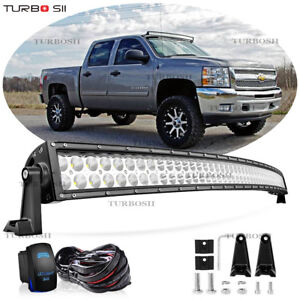 52 Curved Led Light Bar Fit 89 98 Chevy C k 1500 2500 3500 Suburban Truck Roof