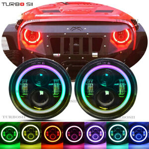 For Hummer H2 Jeep Wrangler 7 Round Led Rgb Halo Headlights Jk Jku Headlights