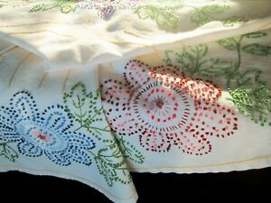 Vintage Hand Embroidered Cotton Tablecloth French Knot Flowers