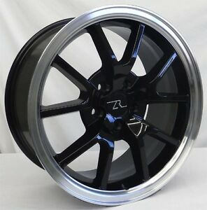 18 Black W Lip Mustang Fr500 Style Wheels Rims 4 18x9 5x114 3 24mm 94 04