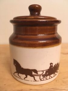 Vintage Ceramic Crock Canister With Lid Horse Sleigh Country Retro Decor