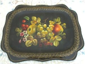 Hand Painted Large Signed Vintage Cherries Pears Grapes Russian Tole Tray