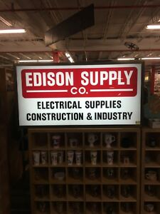 Large Double Sided Commercial Lighted Sign 55x28x11 Edison Supply Wired Plug