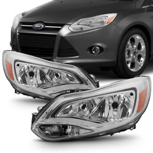 Factory Style 2012 2014 Ford Focus Crystal Chrome Headlights Lamps Pair Lh Rh