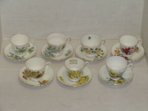 Vintage England Bone China Cup Saucer Lot Of 7 Queen Anne Crown Royal Ascot