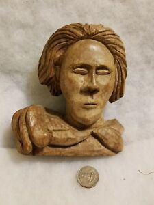 Beautiful Hand Carved Wood Bust Statue Folk Art America Hobo
