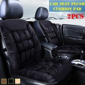 2pcs Front Car Plush Cotton Seat Cushion Comfortable Cover Pad Black