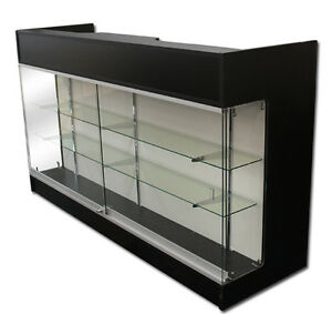 6 Ledgetop Pos Sales Retail Store Display Showcase Counter Black Knockdown New