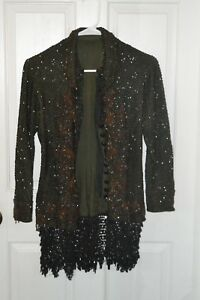 Antique Vintage Victorian Glass Bead Black Brown Mourning Coat Jacket Small