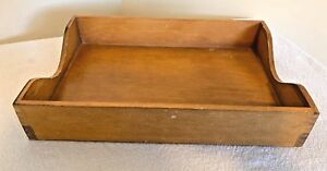 Vintage Wood Paper Tray Desk Drawer Dovetail Letter Box