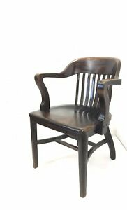 Vintage Library Armchair Mission Style Antique Wood Furniture Office Desk Seat