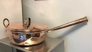 Stunning Large Victorian Heavy Copper Saucepan Jam Kettle Lidded With Handle 5kg