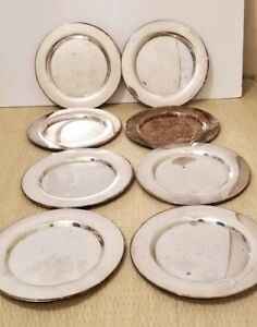 8 Vintage Wm A Rogers Oneida Ltd 6 Inch Silver Plated Charger Plates Side Bread