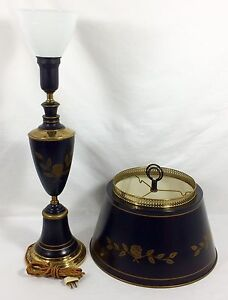 Antique Vtg 30 Black Gold Classic Tole Ware Table Lamp Torchiere Cloth Cord