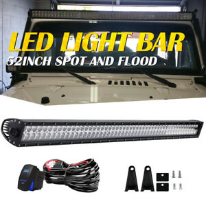 52 Led Light Bar 4x4 Off Road For Toyota 4wd Jeep Gmc Chevy Ford Ram Fog 54