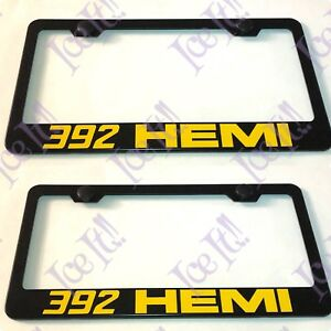 2x Yellow 392 Hemi Stainless Steel Black License Plate Frame Rust Free Caps