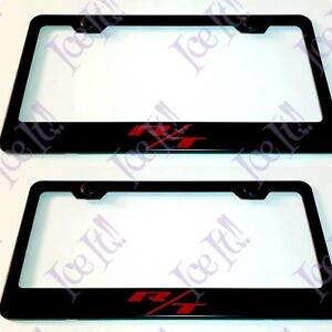 2x Red R T Challenger Charger Hemi Stainless Steel Black License Plate Frame