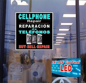 Cellphone Repair English spanish Window Sign 24x24 New Led Flat Panel Design