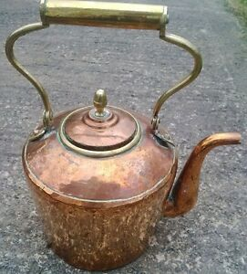 Genuine Large 12 Antique Hammered Copper Range Kettle With Pivot Handle Lot D