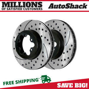 Front Drilled Slotted Brake Rotors Pair 2 Fits 04 08 Chevrolet Colorado 580216