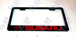 Red Subaru Stainless Steel Black License Plate Frame W Bolt Caps