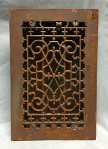 One Antique Cast Iron Decorative Heat Grate Floor Register 6x10 Vintage 762 18c