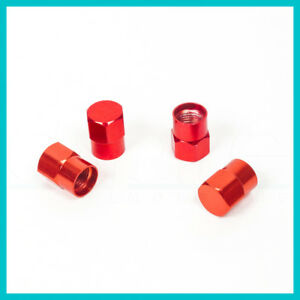 4 Pcs Tr413 Wheel Rim Tire Red Valve Stem Cap For Car Truck Bike