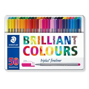 Staedtler Triplus Fineliner Pens Metal Gift Tin Of 50 Brilliant Colours 0 3mm