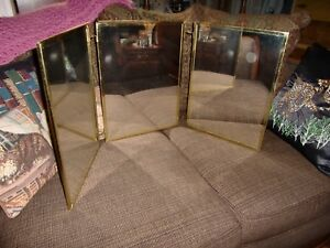 Vtg Large Tri Fold Brass Framed Mirror Tabletop Or Wall Hanging Embossed Back