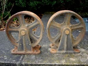 Vtg Factory Cart Casters Antique Cast Iron Industrial Steampunk Thomas Truck 8