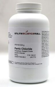 Iron Iii ferric Chloride Crystals Anhydrous 500g Reagent Grade Chemical Re