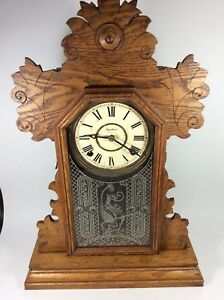 Antique Victorian Ingraham Usa Ornate Gingerbread Parlor Clock Griffin Glass