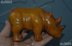 Rare Old China Dynasty Ox Horn Bull Horn Carved Fengshui Rhinoceros Rhino Statue