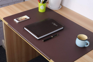 Lohome Deskmat_brown Desk Pads Artificial Leather Laptop Mat With Fixation Lip