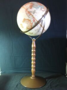 Replogle 12 World Classic Globe With Wood Metal Pedestal Floor Stand