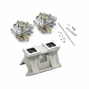 Mopar 440 Weiand 1987wnd Intake And Dual Holley 600 Cfm Carbs Combo