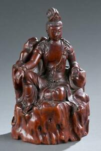 Chinese Carved Boxwood Figure Guanyin