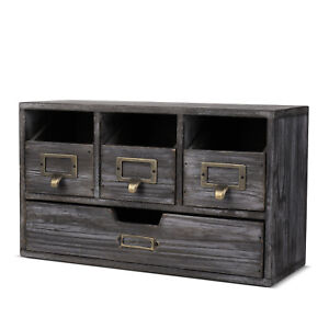 Wood Desktop Office Organizer Drawers Set Storage Cabinet Rusti Torched Finish