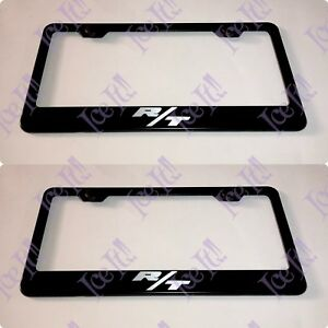 2x R T Challenger Charger Hemi Stainless Steel Black License Plate Frame