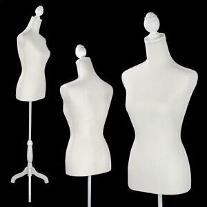 Female Mannequin Torso Manikin Dress Form Display W White Tripod Stand New