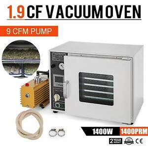 1 9cf Vacuum Oven W 9cfm 2 stage Pump 5 sided Heating Adjustable Gas Back Fill