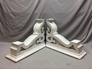 Pair Large Antique White Roof Bracket Corbels Shabby Vintage Chic Old 21 19m
