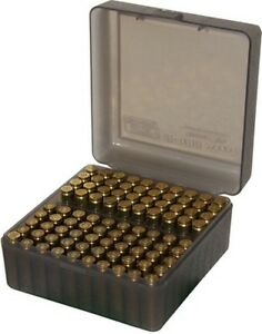 MTM RS10041 Ammo Box 100 Round Flip-Top 223 204 Ruger 6X47 Clear Smoke