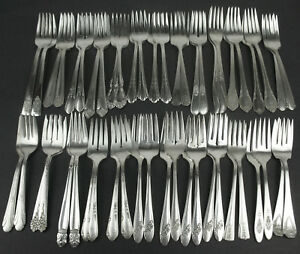 Lot 50 Vintage Silverplate Salad Forks Scrap Craft Mix Cutlery Flatware Pairs 2