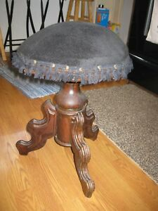 Vintage Adjustable Swivel Wooden Piano Stool