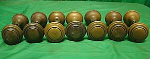 7 Sets 14 Knobs Antique Brass Bullseye Door Knobs