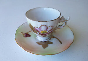 Vintage Bone China Fluted Tea Cup And Saucer Hand Painted Dainty Orchids